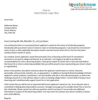 Sample Scholarship Recommendation Letter Template