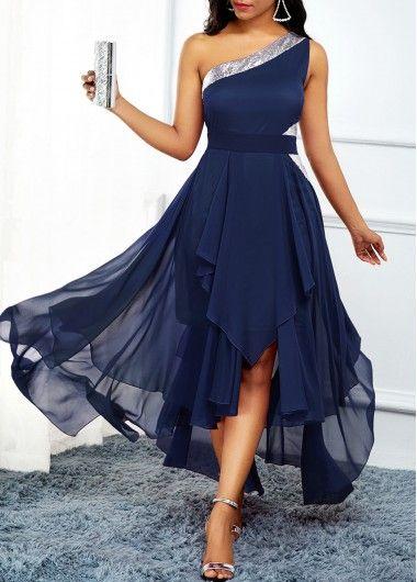 Women'S Navy Blue Chiffon Flowy Cocktail Party Dress One Shoulder Asymmetric Hem Sleeveless Maxi Dress By Rosewe – L This navy blue one shoulder dress is elegant. It has a asymmetric hem…