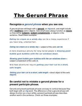 The Gerund Phrase With Images Gerund Phrases Help Teaching