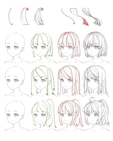 Flowing Anime Hair Reference A reference sheet top of how to draw anime flowing hair. Drawing Hair Tutorial, Manga Drawing Tutorials, Manga Tutorial, Drawing Techniques, Art Tutorials, Drawing Tips, Anatomy Tutorial, Painting Tutorials, Anime Poses Reference