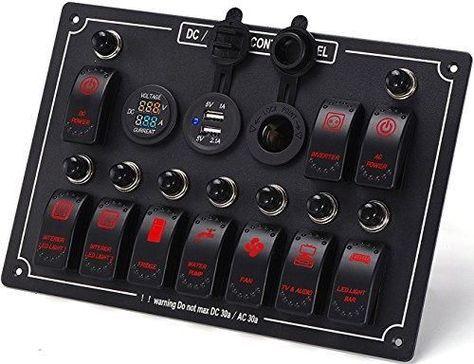 12V Socket 3 Hole Panel Marine Car Boat Blue LED Dual USB Charger Voltmeter