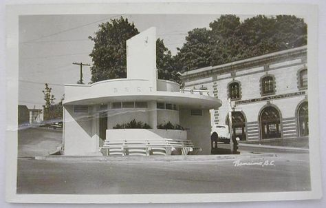 Vintage image from Nanaimo, BC.   Restrooms at Albert St / Commercial St