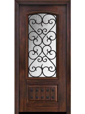 80 1 Panel 3 4 Arch Lite Palermo Cherry Walnut Door Fiberglass Double Entry Doors Fiberglass Exterior Doors Entry Doors