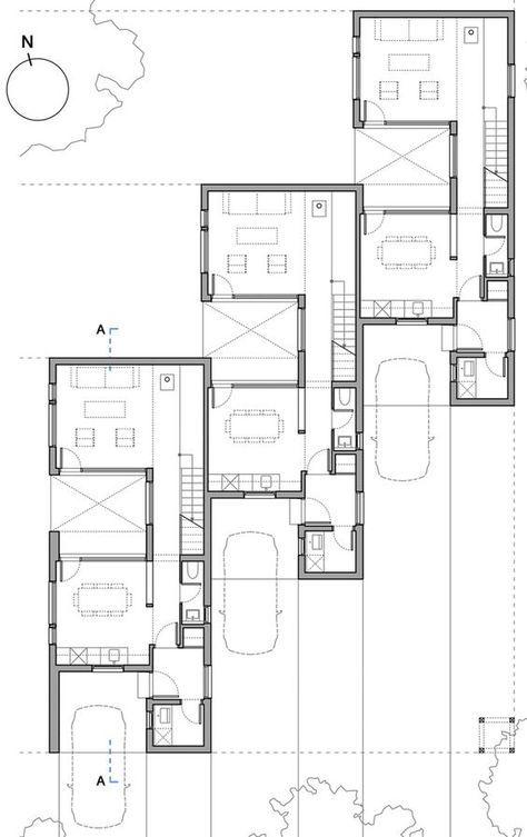 Clf Houses Estudio Babo Staggered Terrace Plan Potentially Interesting Solution For Awkward Sites O Galerias De Casas Casas Multifamiliares Conjunto De Casas