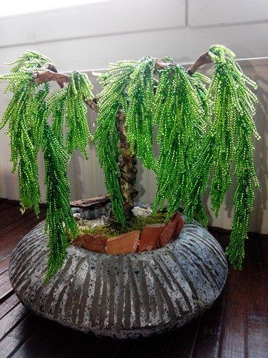 Arbre bonsaï saule pleureur en perle n°5 diy | mes réalisations ...