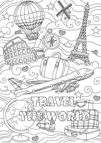 Travel The World Coloring Books Coloring Book Pages Printable
