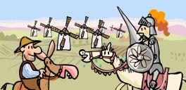 Excellent short cartoon play about Don Quixote de La Mancha y Sancho Panza.