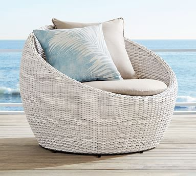 Torrey All Weather Wicker Papasan Swivel Chair White Wash Outdoor Wicker Furniture Lounge Chair Outdoor Indoor Outdoor Pillows