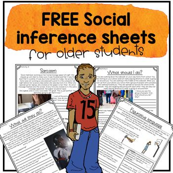 Free Social Inference Worksheets For Older Students And Teens School Speech Therapy Social Language Speech Therapy Social Skills Middle School Social inferences worksheets