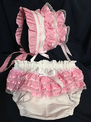 Adult Baby Littles ~ Baby Love PINK Bonnet & Diaper Cover