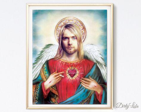 Saint - Kurt Cobain - Nirvana - Art Print - Illustration - Portrait - Painting- Portrait