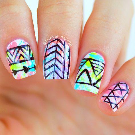 Paint Splatter Tribal Nails #paintsplatter #tribalnails #nails…