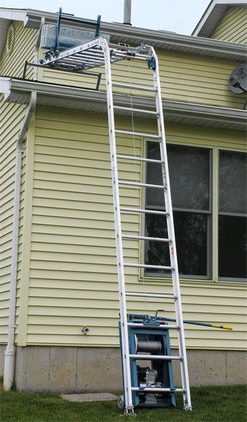 Rgc 250 G Platform Hoist Power Ladder Cap 250 Lbs Condition Used Unit Was Used On One Job Then It Was Put Into Storage It Is Platform Ladder Ladder Hoist