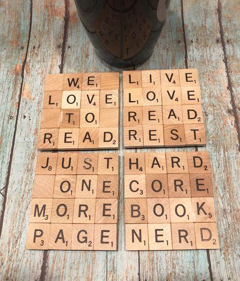 Book Lover Scrabble Coasters, Scrabble Coasters, Set of 4, Book Theme Coasters