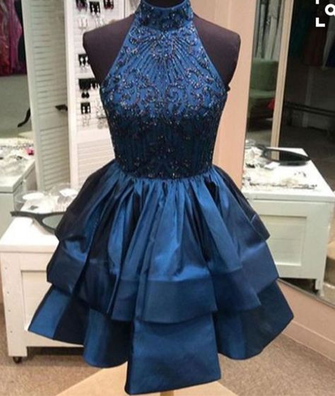 d1af6bf4351 Custom made blue high neck sequin beaded short prom dress
