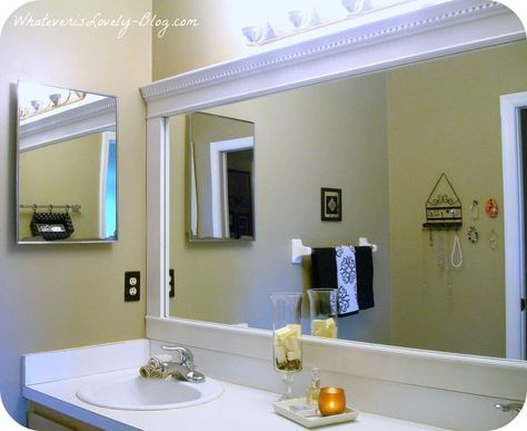 Bathroom Mirror Framed With Crown Molding Large Bathroom