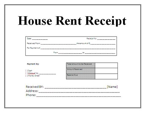 Free House Rental Invoice Receipt Template Receipt Template