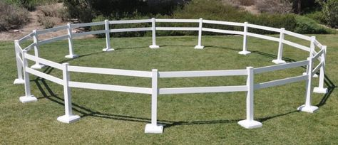 ROUND PEN - 50' DIAMETER This pre-packaged 50 foot diameter Round Pen. Ideal for Seminars, Clinics, Horse Shows and around the barn at home. This Portable Round Pen is suitable for anytime you want to