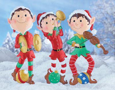 Christmas Holiday Elf Band Garden Yard Stakes