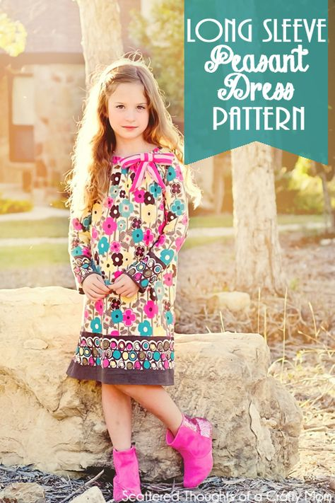 Free Long Sleeve Peasant Dress Pdf Pattern in sizes 12/18 mo to 7.  #freepattern #peasantdress