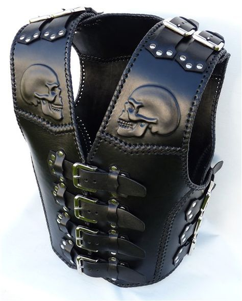 Leather Biker Vest, Leather Armor, Leather Holster, Leather Tooling, Cowboy Holsters, Biker Wear, Apocalyptic Fashion, Mens Gear, Kydex
