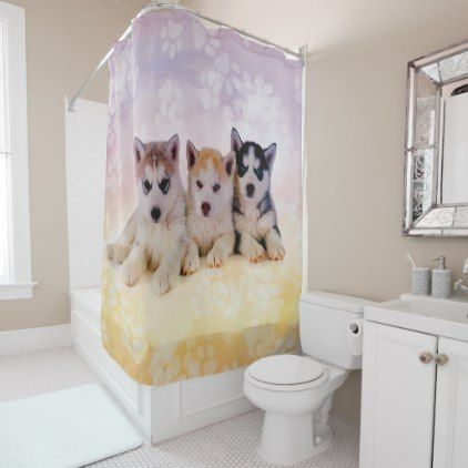 Siberian Husky Puppies Shower Curtain Zazzle Com Husky Puppy