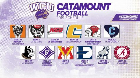 Ncaa 2019 Football Schedule Wcu Western Carolina University