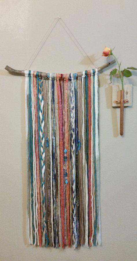 Bohemian Yarn Tapestry Yarn Wall Hanging by NWUrbanCottage on Etsy