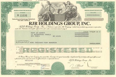 United New Jersey Rail Road and Canal Company 1970u0027s stock - example of share certificate