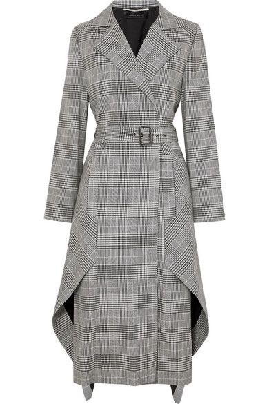 Roland Mouret – Pullman asymmetric belted Prince of Wales checked wool-blend coat – Daily Fashion Trends 2020