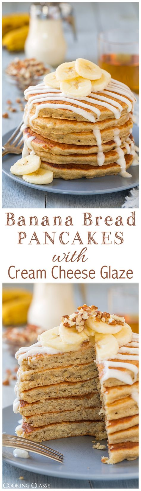 Banana Bread Pancakes with Cream Cheese Glaze - they really do taste just like banana bread but they are ready so much faster than a loaf of banana bread. LOVED them! And that glaze just takes them over the top. #bananabread #breakfast #pancakes #recipe