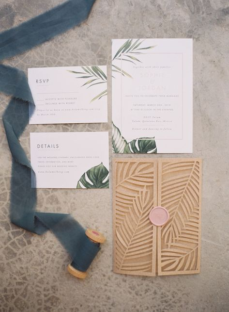 This Couple Completely Redefined What It Means to Throw a Destination Wedding in Mexico Handmade Wedding Invitations, Destination Wedding Invitations, Printable Wedding Invitations, Wedding Invitation Design, Wedding Stationery, Invitation Wording, Invitation Suite, Invitation Ideas, Destination Weddings