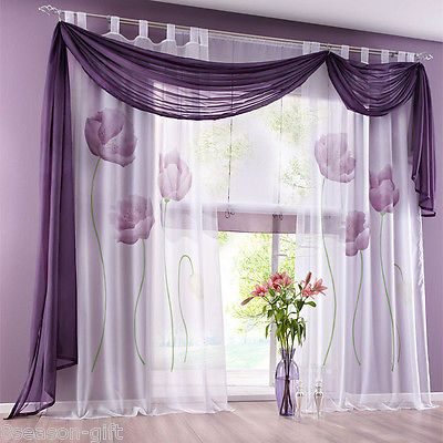 Gift Purple Tab Top Sheer Curtain Panel Window Balcony Tulle Room 150 X245cm Purple Curtains Curtains With Blinds Curtain Decor