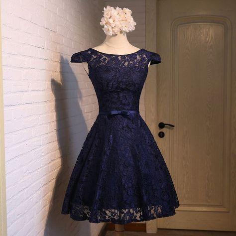 #kleider hochzeitsgast dunkelblau cute a-line dark blue