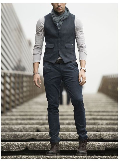 Casual Jeans, Men Casual, Suit Fashion, Classy Fashion, Fashion Clothes For Men, Men's Formal Fashion, Men Formal, Mens Formal Vest, Vest Outfits
