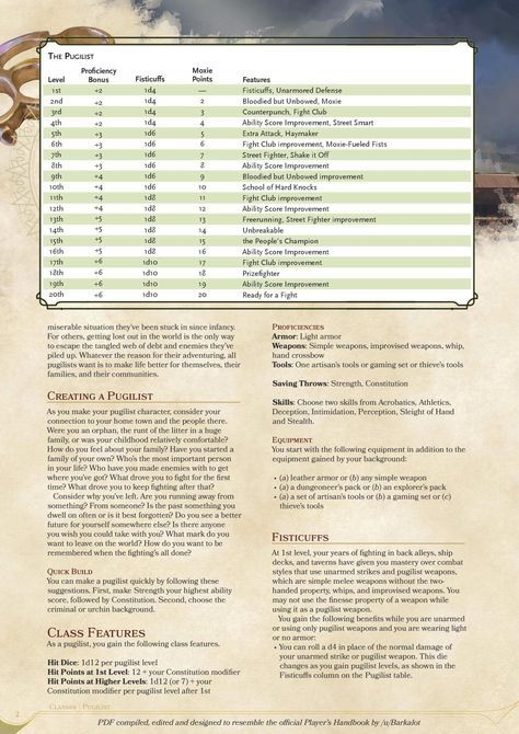 DnD 5e Homebrew — Pugilist Class by coolgamertagbro   GAME - my PCs