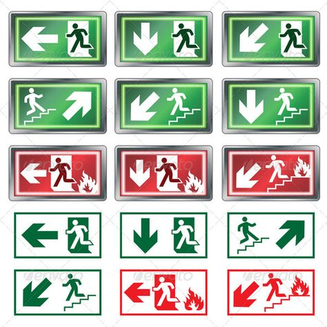 Evacuation Signs #GraphicRiver Collection of Panic Lights with - evacuation plan templates