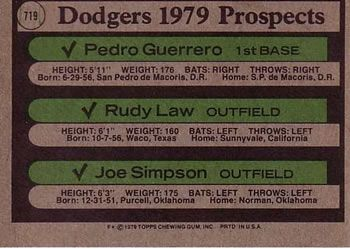 1979 Topps 719 Dodgers Prospects Pedro Guerrero Rudy Law Joe Simpson Back Joe Simpson Mclaughlin Mariners
