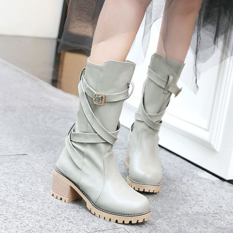a04aee37203 Big Size Autumn Winter Women Belt Buckle Strappy Thick Heel Riding ...