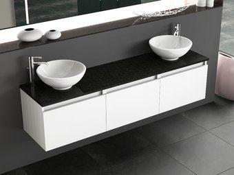 Mia Badmobel 170 Weiss Hochglanz Doppelwaschtisch Doppelwaschtisch Unterschrank Waschtischplatte