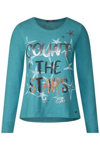 364db91706 Pulli mit Wording-Print - peppermint blue melange - CECIL Online-Shop