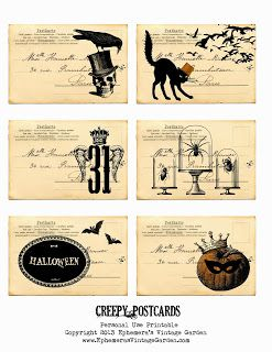 Ephemera's Vintage Garden: Free Weekly Printable - Creepy Postcards