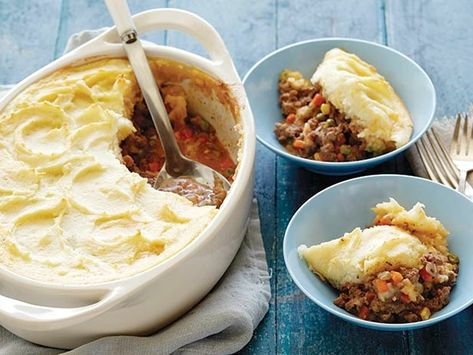 Alton Brown's recipe for Shepherd's Pie -- Love this recipe...I sub the meat for ground venison or turkey and use mashed sweet potatoes.