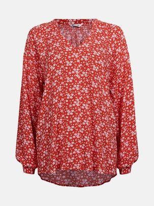 Isabel maxikjole med blomstermønster | 7233929 | Rød | Cubus