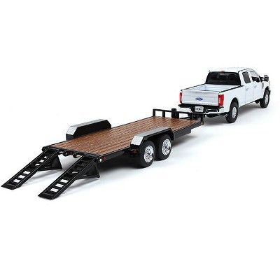 Ford F 250 Crew Cab Super Duty Pickup Truck White Tandem Axle Tag Trailer Black 1 50 Diecast Model Car Diecast Model Cars Classic Pickup Trucks Pickup Trucks