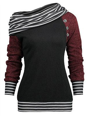 Casual  Contrast Piping  Colouring  Long Sleeve Sweatshirt
