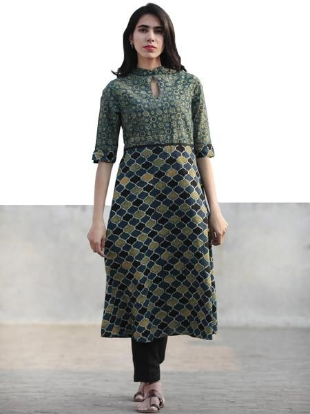 Stand Collar Designs For Kurti : Green indigo black hand printed ajrakh kurta with stand