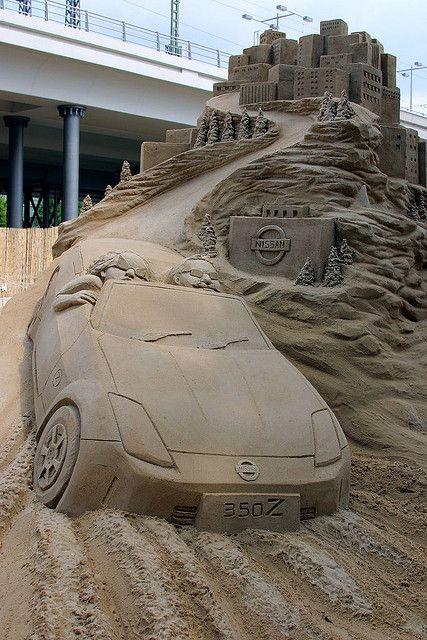 #Sand #sculpture of a cruising #Nissan convertible ... by Manuela Hoffmann, via Flickr