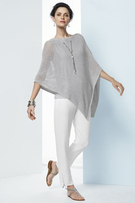 Add a little shimmer to your style with this poncho. Metallic threads shine within the open-knit design for a glam look.