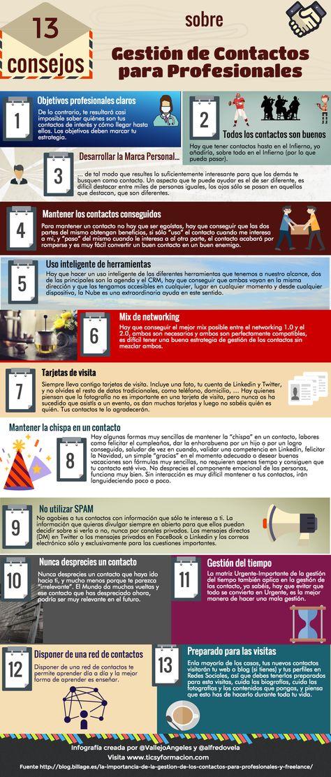 13 consejos sobre gestión de contactos para profesionales #infografia
